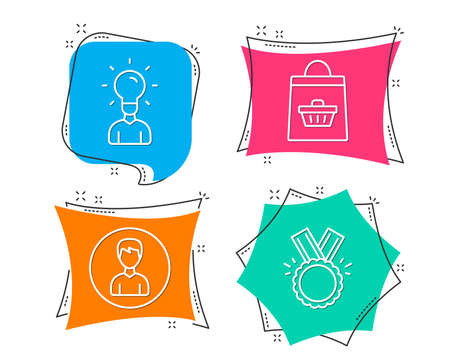 Set of Education, Online buying and Person icons. Honor sign. Human idea, Shopping cart, Edit profile. Medal.  Flat geometric colored tags. Vivid banners. Trendy graphic design. Vector