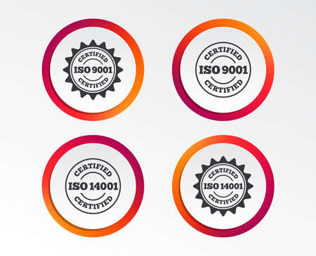 ISO 9001 and 14001 certified icons. Certification star stamps symbols. Quality standard signs. Infographic design buttons. Circle templates. Vector