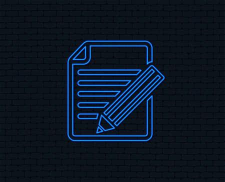 Neon light. Edit document sign icon. Edit content button. Glowing graphic design. Brick wall. Vector Illusztráció