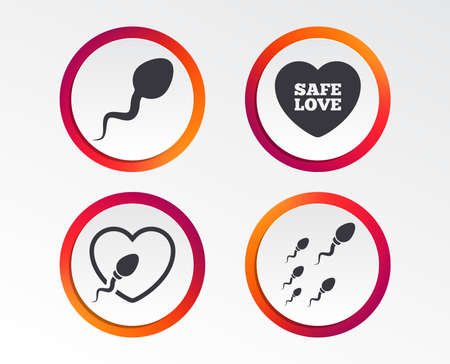 Sperm icons. Fertilization or insemination signs. Safe love heart symbol. Infographic design buttons. Circle templates. Vector