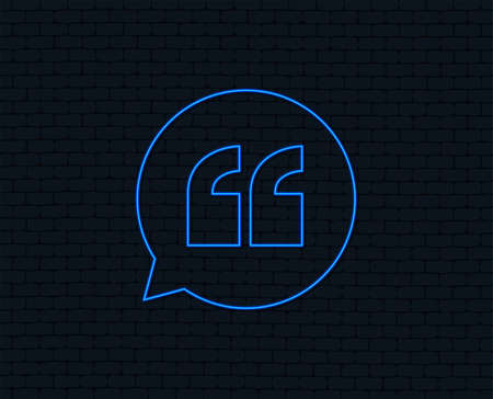 Neon light. Quote sign icon. Quotation mark in speech bubble symbol. Double quotes. Glowing graphic design. Brick wall. Vector