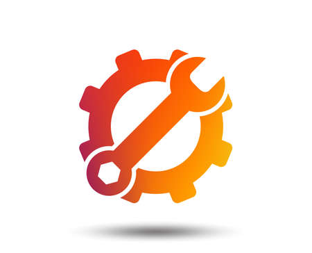 Service icon. Wrench key with cogwheel gear sign. Blurred gradient design element. Vivid graphic flat icon. Vector Stock Vector - 101609338