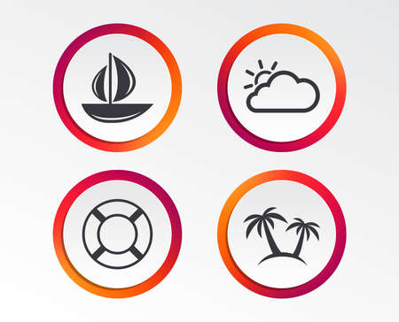 Travel icons. Sail boat with lifebuoy symbols. Cloud with sun weather sign. Palm tree. Infographic design buttons. Circle templates. Vector 向量圖像