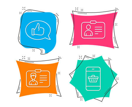 Set of Identification card, Id card and Feedback icons. Smartphone buying sign. Person document, Human document, Speech bubble. Website shopping.  Flat geometric colored tags. Vivid banners. Vector Çizim