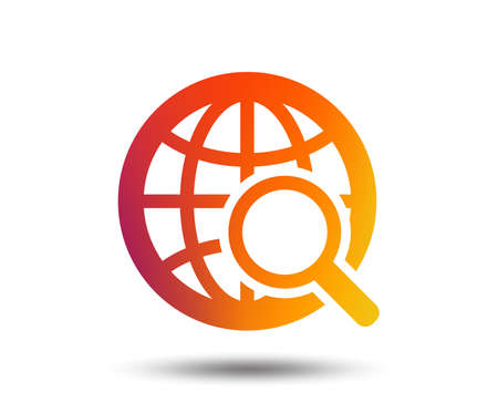 Global search sign icon. World globe symbol. Blurred gradient design element. Vivid graphic flat icon. Vector