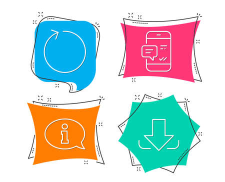Set of Smartphone notification, Loop and Information icons. Download sign. Chat message, Refresh, Info center. Load file.  Flat geometric colored tags. Vivid banners. Trendy graphic design. Vector