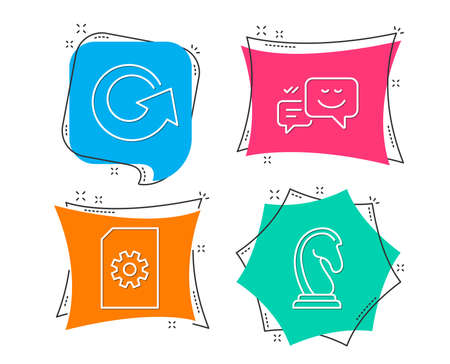 Set of File management, Reload and Happy emotion icons. Marketing strategy sign. Doc with cogwheel, Update, Web chat. Chess knight.  Flat geometric colored tags. Vivid banners. Trendy graphic design