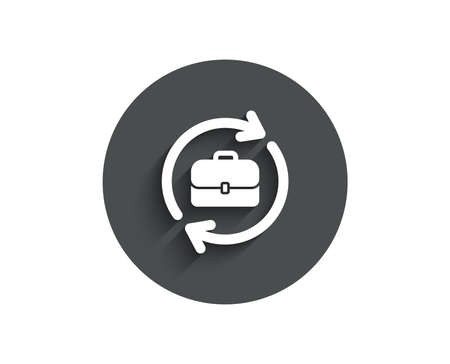 Business recruitment simple icon. Portfolio case or Job Interview sign. Circle flat button with shadow. Vector