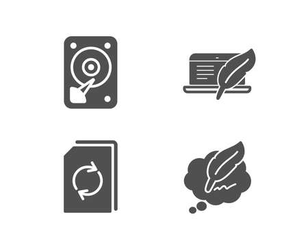 Set of Update document, Hdd and Copyright laptop icons. �¡opyright chat sign. Refresh file, Hard disk, Writer device. Speech bubble.  Quality design elements. Classic style. Vector