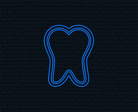 Neon light. Tooth enamel protection sign icon. Dental toothpaste care symbol. Healthy teeth. Glowing graphic design. Brick wall. Vector Stock fotó - 101609658