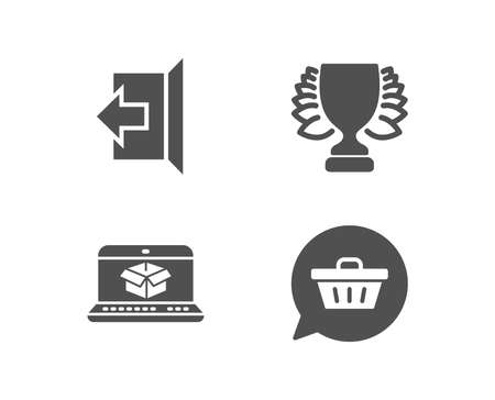Set of Winner, Online delivery and Sign out icons. Shopping cart sign. Sports achievement, Parcel tracking website, Logout. Dreaming of gift.  Quality design elements. Classic style. Vector Фото со стока - 101609659