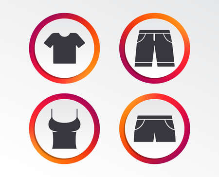 Clothes icons. T-shirt and bermuda shorts signs. Swimming trunks symbol. Infographic design buttons. Circle templates. Vector