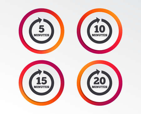 Every 5, 10, 15 and 20 minutes icons. Full rotation arrow symbols. Iterative process signs. Infographic design buttons. Circle templates. Vector Ilustração