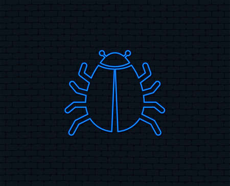 Neon light. Bug sign icon. Virus symbol. Software bug error. Disinfection. Glowing graphic design. Brick wall. Vector