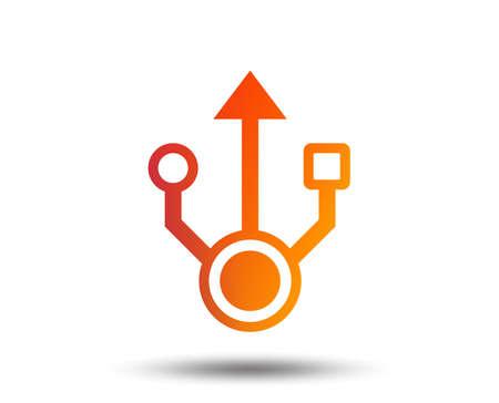 Usb sign icon. Usb flash drive symbol. Blurred gradient design element. Vivid graphic flat icon. Vector