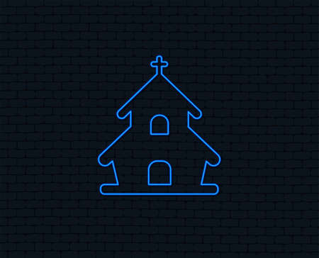 Neon light. Church icon. Christian religion symbol. Chapel with cross on roof. Glowing graphic design. Brick wall. Vector Çizim