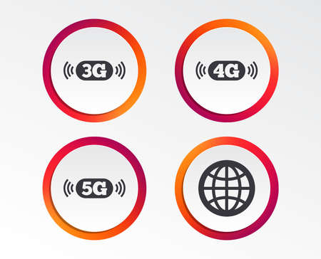 Mobile telecommunications icons. 3G, 4G and 5G technology symbols. World globe sign. Infographic design buttons. Circle templates. Vector Illustration