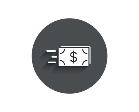 Transfer Cash money simple icon. Banking currency sign. Dollar or USD symbol. Circle flat button with shadow. Vector 向量圖像