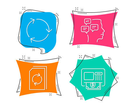 Set of Recycling, Update document and Messages icons. Atm sign. Reduce waste, Refresh file, Notifications. Money withdraw.  Flat geometric colored tags. Vivid banners. Trendy graphic design. Vector Illustration