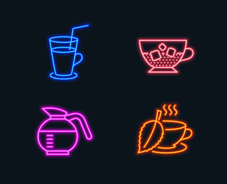 Neon lights. Set of Cocktail, Cold coffee and Coffeepot icons. Mint tea sign. Fresh beverage, Ice cubes in beverage, Brewed coffee.  Glowing graphic designs. Vector