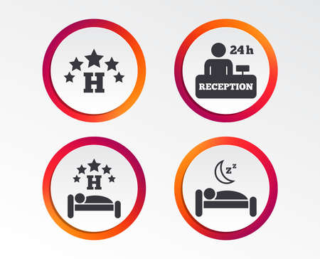 Five stars hotel icons. Travel rest place symbols. Human sleep in bed sign. Hotel 24 hours registration or reception. Infographic design buttons. Circle templates. Vector 向量圖像