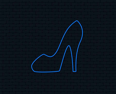 Neon light. Women sign. Women's shoe icon. High heels shoe symbol. Glowing graphic design. Brick wall. Vector Çizim