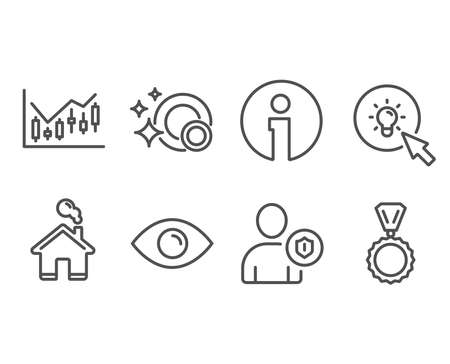Set of Eye, Financial diagram and Energy icons. Security, Clean dishes and Medal signs. View or vision, Candlestick chart, Turn on the light. Person protection, Dishwasher concept, Winner. Vector Çizim