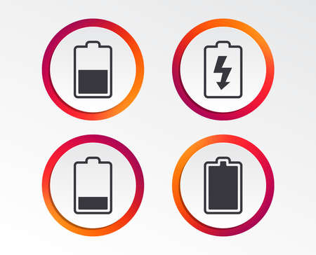Battery charging icons. Electricity signs symbols. Charge levels: full, half and low. Infographic design buttons. Circle templates. Vector