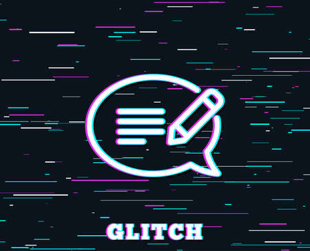 Glitch effect. Message chat line icon. Speech bubble sign. Feedback symbol. Background with colored lines. Vector Illustration