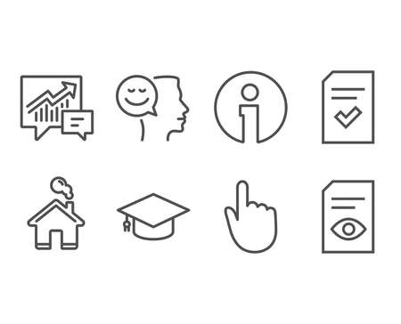 Set of Good mood, Checked file and Graduation cap icons. Hand click, Accounting and View document signs. Positive thinking, Correct document, University. Location pointer, Supply and demand, Open file