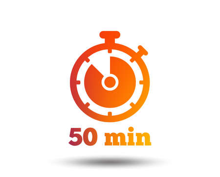 Timer sign icon. 50 minutes stopwatch symbol. Blurred gradient design element. Vivid graphic flat icon. Vector Illustration