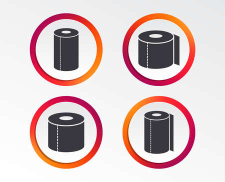 Toilet paper icons. Kitchen roll towel symbols. WC paper signs. Infographic design buttons. Circle templates. Vector Illustration