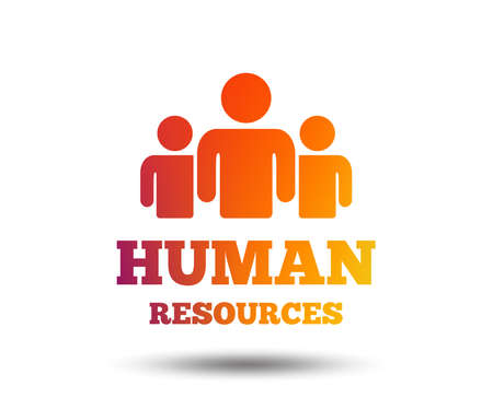 Human resources sign icon. HR symbol. Workforce of business organization. Group of people. Blurred gradient design element. Vivid graphic flat icon. Vector
