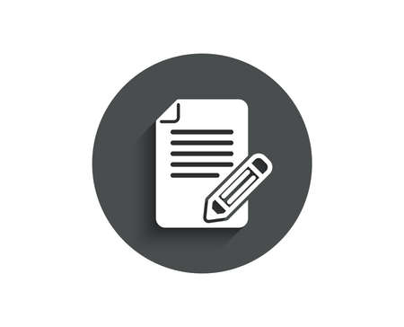Feedback simple icon. Page with pencil sign. Copywriting symbol. Circle flat button with shadow. Vector