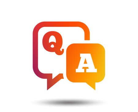 Question answer sign icon. Q&A symbol. Blurred gradient design element. Vivid graphic flat icon. Vector