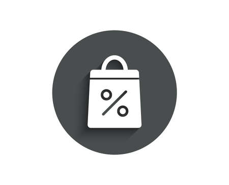 Shopping bag with Percentage simple icon. Supermarket buying sign. Sale and Discounts symbol. Circle flat button with shadow. Vector