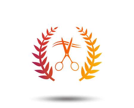 Scissors cut hair sign icon. Hairdresser or barbershop laurel wreath symbol. Winner award. Blurred gradient design element. Vivid graphic flat icon. Vector