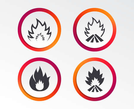 Fire flame icons. Heat symbols. Inflammable signs. Infographic design buttons. Circle templates. Vector