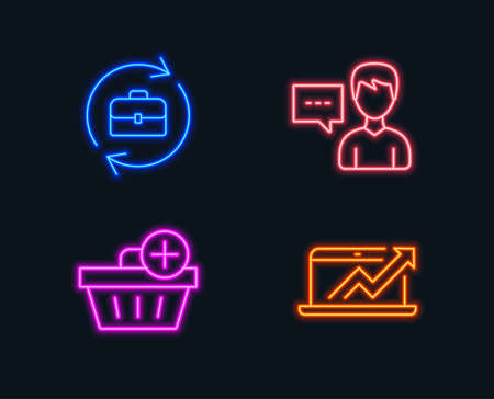 Neon lights. Set of Add purchase, Person talk and Human resources icons. Sales diagram sign. Shopping order, Communication message, Job recruitment. Sale growth chart.  Glowing graphic designs. Vector