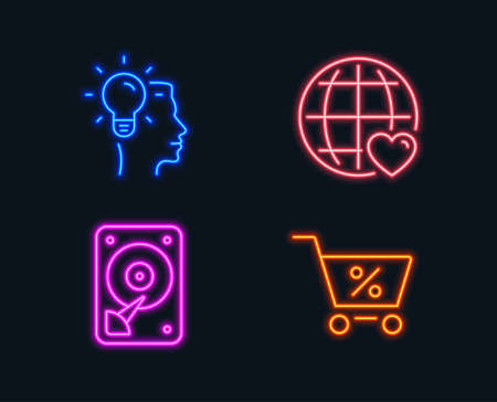 Neon lights. Set of Idea, International love and Hdd icons. Special offer sign. Professional job, Internet dating, Hard disk. Discounts.  Glowing graphic designs. Vector Illustration