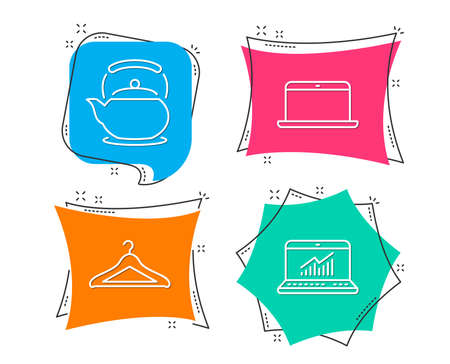 Set of Laptop, Teapot and Cloakroom icons. Online statistics sign. Mobile computer, Tea kettle, Hanger wardrobe. Computer data.  Flat geometric colored tags. Vivid banners. Trendy graphic design