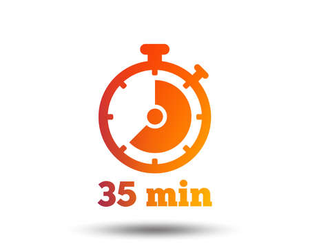 Timer sign icon. 35 minutes stopwatch symbol. Blurred gradient design element. Vivid graphic flat icon. Vector