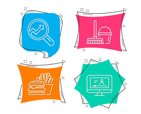 Set of Bucket with mop, Burger and Analytics icons. Online video sign. Cleaner equipment, Cheeseburger, Audit analysis. Video exam.  Flat geometric colored tags. Vivid banners. Trendy graphic design Ilustração