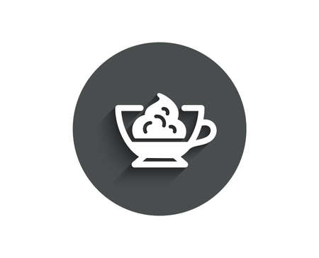 Espresso with whipped cream icon. Hot coffee drink sign. Beverage symbol. Circle flat button with shadow. Vector Illustration