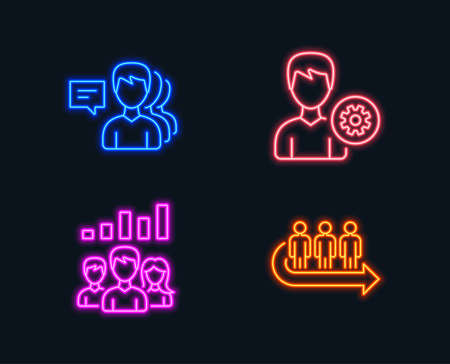 Neon lights. Set of Teamwork results, Support and People icons. Queue sign. Group work, Edit profile, Support job. People waiting.  Glowing graphic designs. Vector