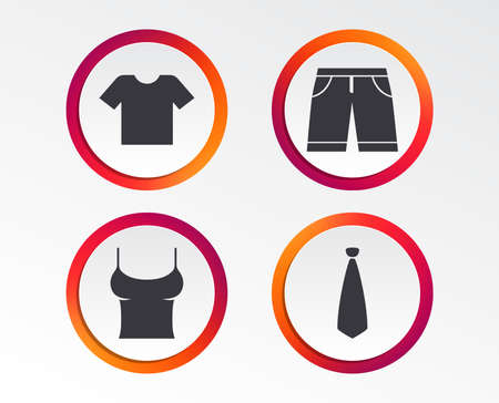 Clothes icons. T-shirt and bermuda shorts signs. Business tie symbol. Infographic design buttons. Circle templates. Vector
