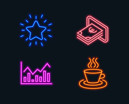 Neon lights. Set of Infochart, Cash and Rank star icons. Tea cup sign. Stock exchange, Atm payment, Best result. Coffee mug.  Glowing graphic designs. Vector