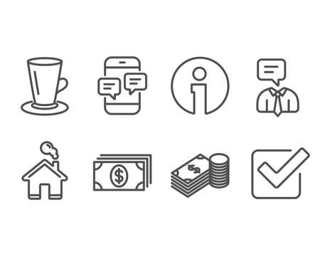 Set of Teacup, Banking and Phone messages icons. Savings, Support service and Checkbox signs. Tea or latte, Money payment, Mobile chat. Finance currency, Human talking, Approved tick. Vector