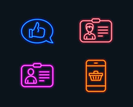 Neon lights. Set of Identification card, Id card and Feedback icons. Smartphone buying sign. Person document, Human document, Speech bubble. Website shopping.  Glowing graphic designs. Vector