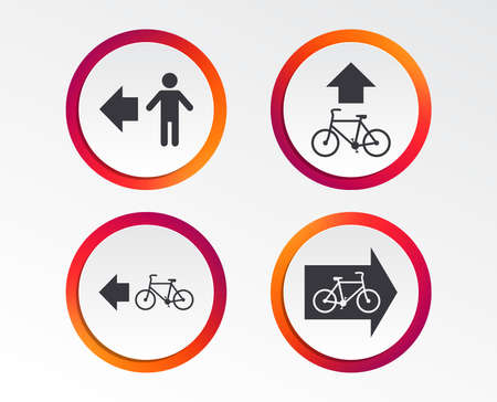 Pedestrian road icon. Bicycle path trail sign. Cycle path. Arrow symbol. Infographic design buttons. Circle templates. Vector